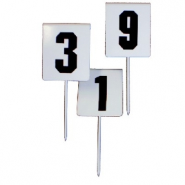 Athletics Field Event Marker with Folded metal sheet with peg